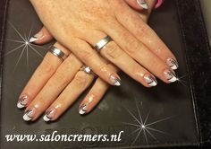 French manicure with a black twist