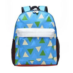 Trendy Geometric-Print Multicolored Durable Large-Capacity Backpack 5 Colors