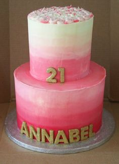 Two tier pink ombre 21st cake