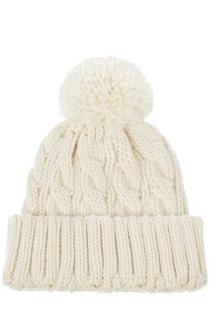 Shoes | Cream Cable Pom-Pom Hat | Warehouse