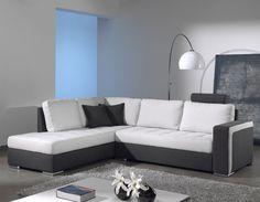 Canapé-lit d\'angle BOCONO en tissu marron et beige   deco maison ...