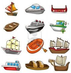 Illustration of cartoon boat icon vector art, clipart and stock vectors. Boat Icon, Boat Cartoon, Cartoon Drawings, Doodles, Clip Art, Stock Photos, Illustration, Creative, Projects