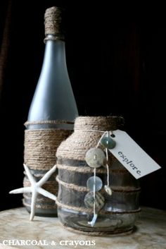Repurpose-upcycle glass bottles and jars with jute twine, shells and shell buttons-beach inspired. Glass Bottle Crafts, Wine Bottle Art, Seashell Crafts, Beach Crafts, Bottles And Jars, Glass Bottles, Do It Yourself Upcycling, Deco Marine, Altered Bottles