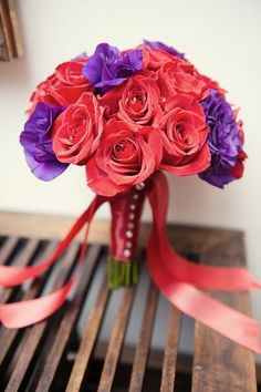 Wedding bouquet- dark coral and purple roses mix- Bridesmaid bouquet -posey bouquet style