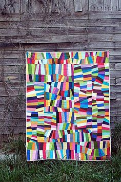 by Stitched In Color. Check out Rachel's other quilts. Geometric Patterns, Quilt Patterns, Quilting Projects, Quilting Designs, Sewing Projects, Quilt Modernen, String Quilts, How To Finish A Quilt, Contemporary Quilts