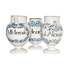 19th C. Terracotta Blue & White Glazed Apothecary Vessels | From a unique collection of antique and modern apothecary jars and objects at http://www.1stdibs.com/furniture/more-furniture-collectibles/apothecary-jars-objects/