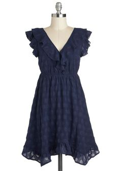Come on Indigo Dress by Tulle Clothing - Blue, Ruffles, Casual, Empire, Short, Solid, Party