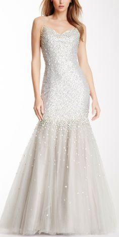 Embellished & Sequin Sweetheart Gown