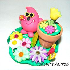 Flower Pot PARKER  Polymer Clay Sculpted Character  by KatersAcres, $29.00 kater-s-acres-original-parker-polymer-clay-charact