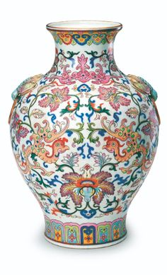 Famille-rose 'phoenix' vase, mark and period of Qianlong, Qing Court collection, Palace Museum, Beijing. After: The Complete Collection of Treasures of the Palace Museum. Porcelains with Cloisonné Enamel Decoration and Famille Rose Decoration, Hong Kong, 1999, pl. 95.