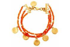 Carnelian w/ Gold Coins Bracelet