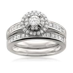 14k White Gold Round & Princess-cut Diamond Halo Engagement Bridal Set Wedding Ring (1 cttw, H-I, SI2-I1)