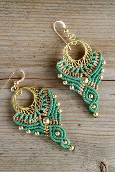Tribal Earrings, Beaded Earrings, Crochet Earrings, Blue Earrings, Macrame Jewelry, Macrame Bracelets, Gypsy Jewelry, Micro Macramé, Macrame Patterns
