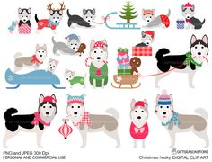 Christmas husky Winter husky Digital clip art for Personal and Commercial use - INSTANT DOWNLOAD by Giftseasonstore on Etsy https://www.etsy.com/listing/262027441/christmas-husky-winter-husky-digital
