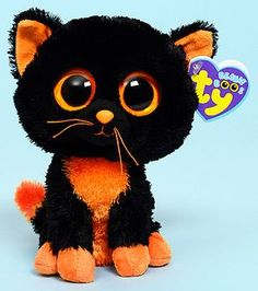 Moonlight the Halloween Cat, Ty Beanie Boos Big Eyed Animals, Ty Animals, Ty Stuffed Animals, Plush Animals, Ty Babies, Beanie Babies, Ty Beanie Boos Collection, Ty Peluche, Ty Boos