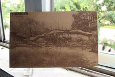Laser engrave Chinese landscape painting