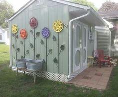 Hubcap flower garden