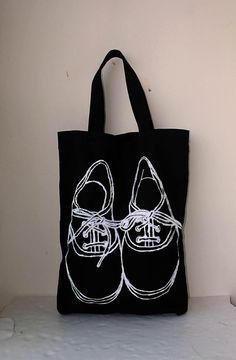 $19.99 USD Big size Shoe screen printed on black Canvas tote bag