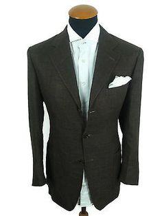 Canali-Sakko-Gr-50-M-Seide-Flachs-Wolle-Braun-Blazer-40R-Wolle-Jacket-Wool-Brown