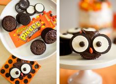 Baby Shower Candy Buffet pic (a run-thru) - Weddingbee. For cupcakes use Oreo cookies and round candy (here it's Reese's pieces). Could use mini Oreos instead. Easy Halloween Snacks, Recetas Halloween, Halloween Cupcakes, Halloween Owl, Halloween Party, Halloween Desserts, Christmas Cupcakes, Owl Cupcakes, Cute Cupcakes