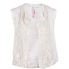 GREGORY PARKINSON Embroidered lace vest (€180) ❤ liked on Polyvore featuring outerwear, vests, tops, shirts, white vest, white waistcoat, open front vest, metallic vest and gregory parkinson