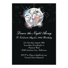 unique disco party invites | disco ball invitations can be used for a formal party for a disco ...