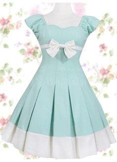 Adorable Mint Cotton Sleeveless Ribbon Bow Sweet Lolita Dress