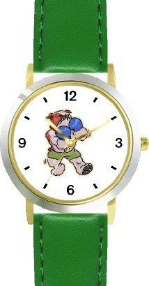 Bulldog Boxing or Fighting Cartoon Dog - WATCHBUDDY® DELUXE TWO-TONE THEME WATCH - Arabic Numbers - Green Leather Strap-Children's Size-Small ( Boy's Size & Girl's Size ) WatchBuddy. $49.95