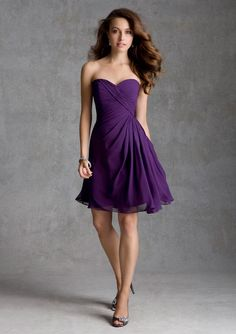 short purple bridesmaid dress