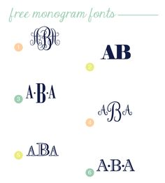 Typography Tuesday - Free Monogram Fonts Monogram  Elephant Bodoni Cursif Rosart Imprint MT Shadow Remember when making your monograms, you always want your last initial in the middle, and traditionally, that letter will be the largest.  For more of our favorite free fonts, check us out here, here,  and here too.