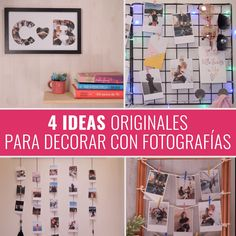 デコラコン写真のアイデア ¿Quieres salir de lo convencional y decorar unahabitaciónde manera original?Utiliza tus viejasfotografías、pero no las coloques en aburridos # Diy Crafts Hacks, Diy Home Crafts, Diy Home Decor, Diy Projects, Cute Diy Room Decor, Diy Room Decor Videos, Cuadros Diy, Decoration Photo, Diy Décoration