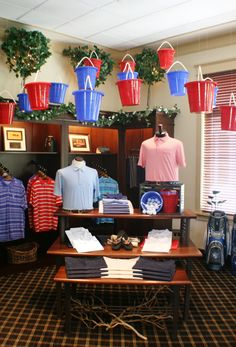 Summer bucket display. Visual Merchandising. Fountain Head Country Club