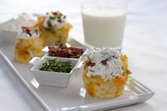 Transform your spuds by using muffin tins for these baked potato cupcakes.