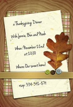 """Thanksgiving crafts"" printable invitation. Customize, add text and photos. print for free! #Thanksgiving #Invitation"