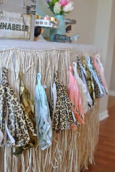Wild garland at a safari birthday party! See more party planning ideas at CatchMyParty.com!