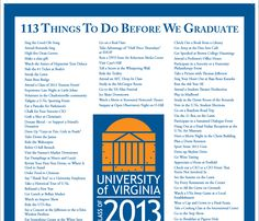 """The Class of 2013's list of """"113 Things To Do Before We Graduate"""" Awwww!"""