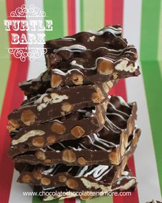Turtle Bark-Chocolate, Pecans and Caramel all come together in this easy to make Bark from @Joan | ChocolateChocolateandmore