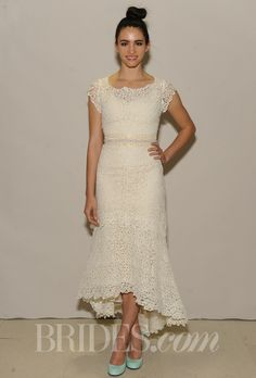 "Brides.com: Ivy & Aster - Spring 2014. ""Heart of Gold"" lace A-line wedding dress with asymmetric high-low skirt and scoop neckline, Ivy & Aster"