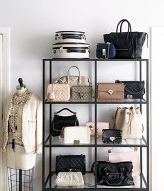 What makes the dressing room perfect? Many people have a house that is big enough to contain an imaginary dressing room. A room devoted. Bag Closet, Room Closet, Closet Space, Closet Office, Handbag Display, Handbag Storage, Shoe Storage, Jewelry Storage, Diy Purse Display