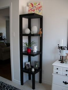 Live From IKEA black tables turned into corner shelf unit.,Live From IKEA black tables turned into corner shelf unit. Perfect solution for bedroom corner! Corner Shelf Unit, Corner Table, Black Corner Shelf, Shelf Units, Shelving Units, Kitchen Corner, Wall Units, Kitchen Tables, Tv Units