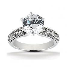14k White Gold Diamond Accented Engagement Ring Containing 0.72 Carats Of Diamonds In Hi Color And Si1-si2 Clarity