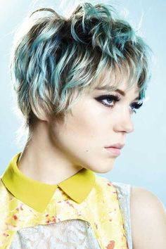 Short blonde and blue hairstyle