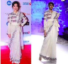 GET THE LOOK Sayani Gupta in an Ivory, Indigo and Red Floral Motifs Peplum Jacket with Floral Embroidered Saree by RAHUL MISHRA.  Shop now: https://www.perniaspopupshop.com/designers/rahul-mishra  #celebritycloset #celebritystyle #getthelook #sayanigupta #embroideredsaree #rahulmishra #indiandesigner #ppusexclusive #shopnow #perniaspopupshop