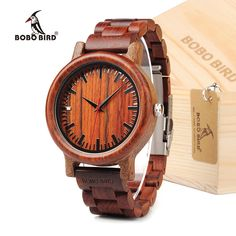 Best Value $25.99, Buy BOBO BIRD EM17 Handmade Red Sandalwood Watch Lightweight Quartz Watch For Men With Gift Box in Dropshipping