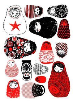 Matryoshka print by Maurine Schiffler.