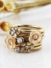 Gold Crystal Flowers Multilayer Ring - Sheinside.com