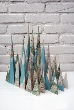 map mountains. louis reith.    mountains made from maps.