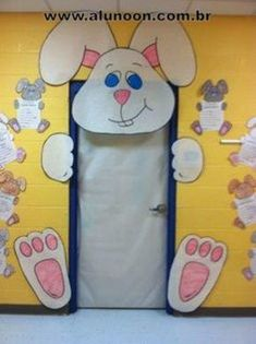 Easter door decorations for preschool decoration decor church whimsical bunny wreath spring summer classroom decoratio Door Decoration For Preschool, Decoration Creche, Preschool Decor, School Door Decorations, School Doors, Spring Door, Spring Summer, Classroom Door, In Kindergarten