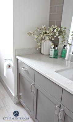 Benjamin Moore Classic Gray. Best gray for vanity or cabinets, Benjamin Moore Metropolis p and Bianco Drift bathroom countertop by Kylie M Interiors