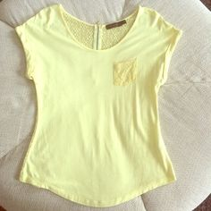 Yellow Lace T-shirt Pic 1 is true to color. Very good condition, and comfy! The Limited Tops Blouses